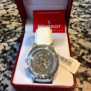 Peugeot Women's Crystal Accented White Dial Watch
